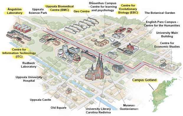 Campus map: An overview map of Uppsala with all campus areas, and Gotland.