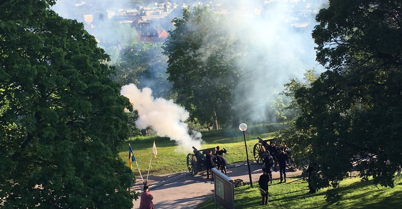 Cannon salute outside Uppsala Castle during the conferment ceremony 2019.